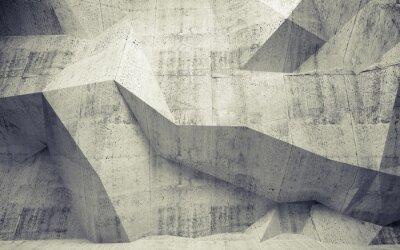 Fototapeta Streszczenie stonowanych betonu 3d wnętrze z wielokąta wzór na th