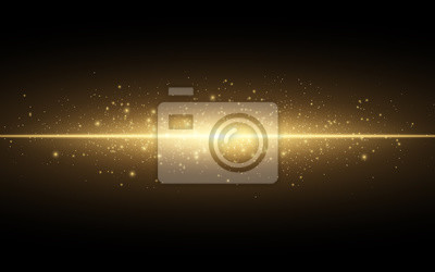 Fototapeta Streszczenie stylowy efekt świetlny na czarnym tle. Złota świecące linii neon. Złoty świetlisty pył i odblaski. Latarka. świetlisty ślad. Ilustracji wektorowych
