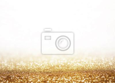 Fototapeta Streszczenie świecące błyszczy złotym tle bokeh z kopii białe miejsca