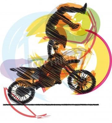 Fototapeta Streszczenie szkic rowerzystę
