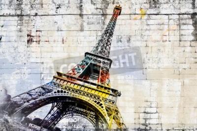 Fototapeta Streszczenie sztuka cyfrowa z wieży Eiffla w Paryżu. Street art na ścianie. sztuki cyfrowej, wysokiej rozdzielczości, do druku na płótnie