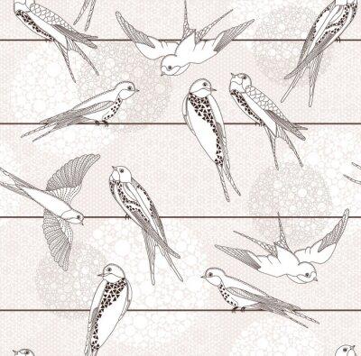 Fototapeta Streszczenie szwu. Ptak na drutach.