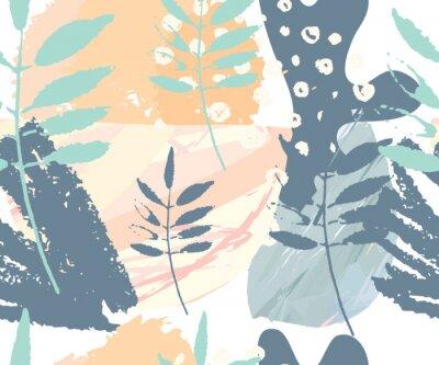 Fototapeta Streszczenie szwu. Rę cznie rysowane tekstury. Pędzle w pastelowych kolorach i branches.Vector drzewa. Okładki, ulotki, banery, prezentacje, książki, notebooki.