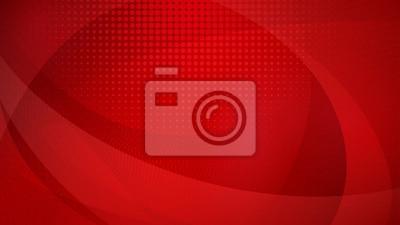 Fototapeta Streszczenie tło zakrzywionych powierzchni i punktów rastrowych w czerwonych kolorach