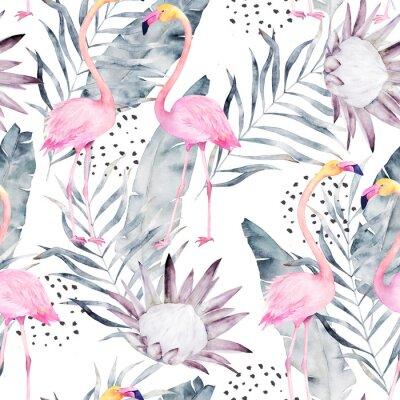 Fototapeta Streszczenie tropikalny wzór z flamingo, protea, liści. Akwarela bezszwowe drukowanie. Minimalizm ilustracji