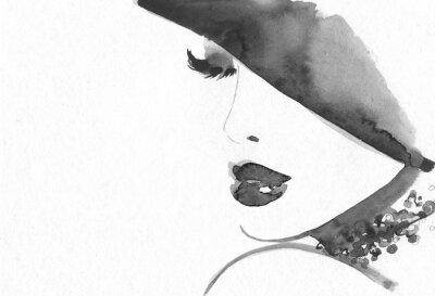Fototapeta Streszczenie twarz kobiety. Ilustracja moda.