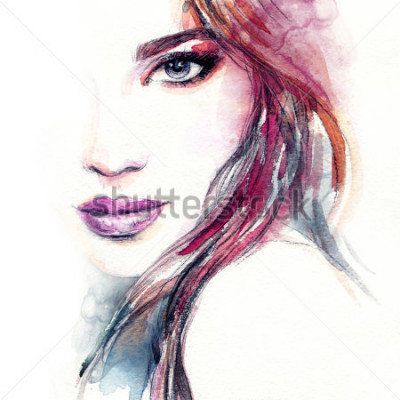 Fototapeta Streszczenie twarz kobiety. Ilustracja moda. Malarstwo akwarelowe