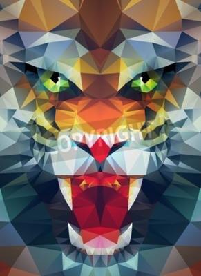 Fototapeta Streszczenie wielokątne tygrysa. Geometryczne ilustracji hipster. Łamana plakat