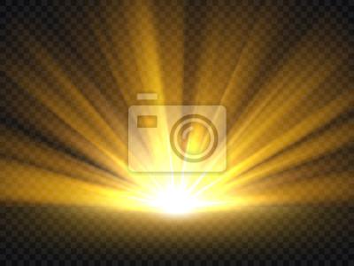Fototapeta Streszczenie złote jasne światło. Złocisty połysk pęka wektorową ilustrację odizolowywającą