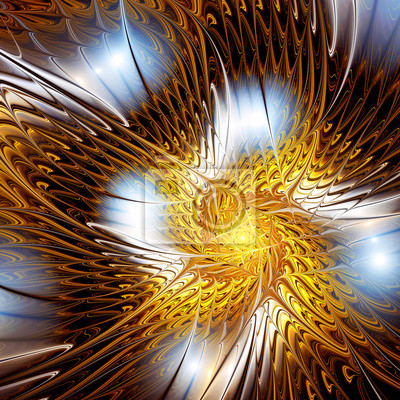 Streszczenie złote tło światło kręcić. Bright cyfrowych dynamiczna grafika dla kreatywnego projektowania. dekoracji artystycznej dla tapet pulpitu, plakat, okładkę broszury, ulotki. sztuka fraktalna