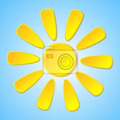 Streszczenie żółte słońce papieru na niebieskim tle.