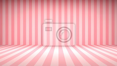 Fototapeta Striped candy pink studio backdrop with empty space for your content