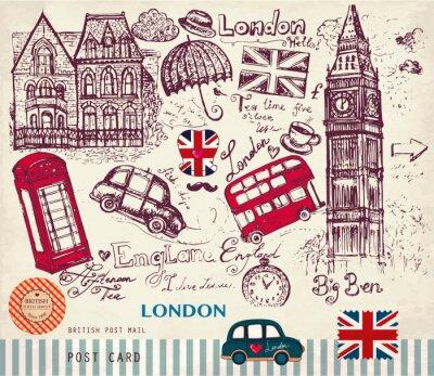 Strony wektor narysowany kartkę z symboli Londynu