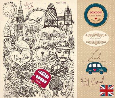 Fototapeta Strony wektor narysowany kartkę z symboli Londynu