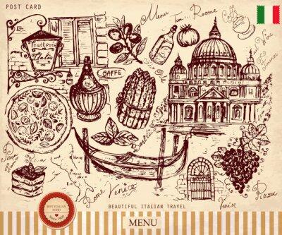 Fototapeta Strony wektor narysowany kartkę z włoskich symboli