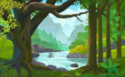 Fototapeta Strumień rzeki przepływającej przez gęsty zielony las