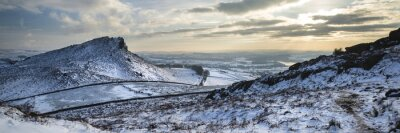 Fototapeta Stunning Winter panoramic landscape snow covered countryside wit