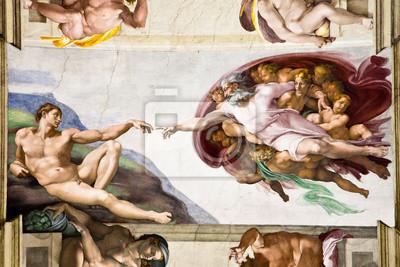Fototapeta Stworzenie Adama, Michała Anioła, Kaplicy Sykstyńskiej w Rzymie