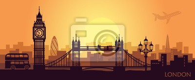 Fototapeta Stylized landscape of London with big Ben, tower bridge and other attractions