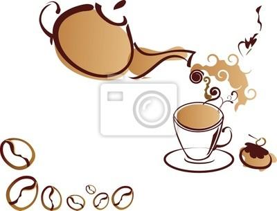 Stylizowane Coffee-pot i filiżanka kawy