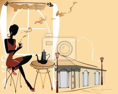 Stylowa dziewczyna w kawiarni
