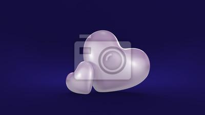 Fototapeta Stylowe niebieskie tło z dwóch serc białe
