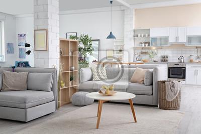 Fototapeta Stylowe wnętrze mieszkania z nowoczesną kuchnią. Pomysł na projekt domu