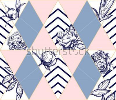 Fototapeta Stylowy modny wzór geometryczny z kwiatami piwonii. Idealna tekstura dla mody. Element projektu wektorowego
