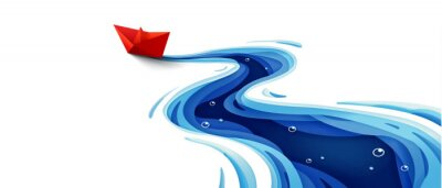 Fototapeta Success leadership concept, The journey of the origami red paper boat on winding blue river, Paper art design banner background