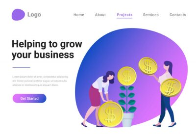 Fototapeta Successful Business Strategy Consulting Investment Flat style vector illustration landing page banner. Businesswoman helping take more coins from money tree. Entrepreneur grows plant with coin flower.