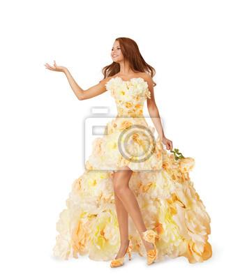 2907218f Sukienka flower kobieta, dziewczyna reklama pustej ręki, moda - Fototapety  - Redro