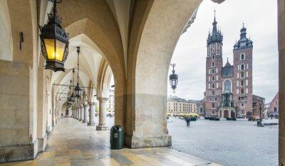 Fototapeta Sukiennice i Bazylika Saint Mary w Krakowie.