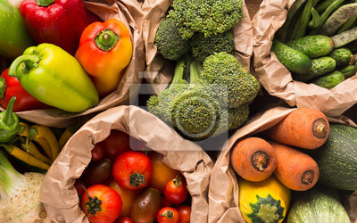 Fototapeta Summer background with fresh and healthy farm vegetables