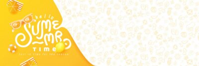 Fototapeta Summer banner design with beach accessories on the yellow background and copy space.