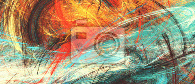 Summer. Bright artistic splashes. Abstract painting color texture. Modern futuristic pattern. Multicolor dynamic background. Fractal artwork for creative graphic design