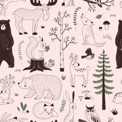 Fototapeta Summer Forest seamless vector pattern. Woody landscape with Bear Deer Hare Wolf Moose Fox Owl Squirrel creatures repeatable background. Woodland childish print in Scandinavian decorative style. Cute