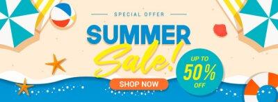Fototapeta Summer sale banner vector illustration. Summer beach flat design