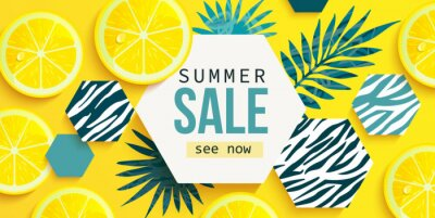 Fototapeta Summer sale horizontal banner with fresh lemon, tropical leaves and hexagons with animal zebra print. Bright tasty poster, flyer with invitation for shopping. Template offer of discounts deals.Vector