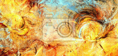 Summer sun. Bright artistic splashes. Abstract painting color texture. Modern futuristic pattern. Multicolor dynamic background. Fractal artwork for creative graphic design