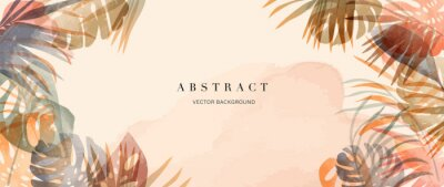 Fototapeta summer tropical background vector. Palm leaves, monstera leaf, Botanical background design for wall framed prints, wall art, invitation, canvas prints, poster, home decor, cover, wallpaper.