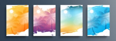 Fototapeta Summertime backgrounds set with palm trees, summer sun and brush strokes for your graphic design. Sunny Days. Vector illustration.