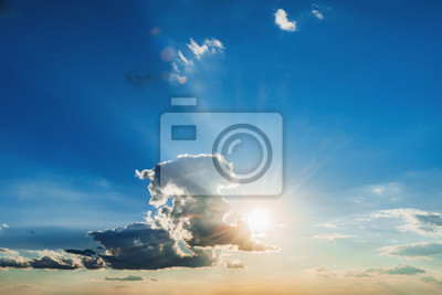 sun and white cloud with blue sky background