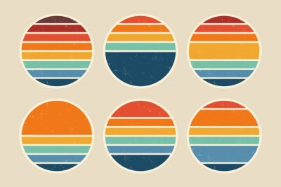 Fototapeta Sun retro badge and emblem set. Abstract ocean view background inside circles shapes with geometric vintage distressed style. Perfect for sticker, logo, icon, t-shirt or any purpose.