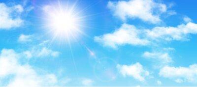 Fototapeta Sunny tle, błękitne niebo z białymi chmurami i słońce
