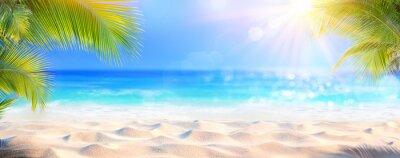 Fototapeta Sunny Tropical Beach With Palm Leaves And Paradise Island