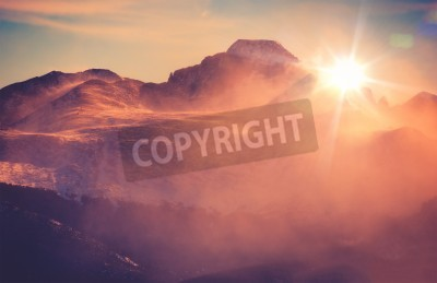 Fototapeta Sunny Winter Mountain Landscape with Blowing Snow. Colorado Rocky Mountains, Colorado, United States.