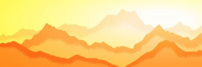 Fototapeta Sunrise in the mountains, panoramic view, vector illustration. Fantasy on the theme of the morning landscape.