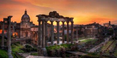 Fototapeta Sunrise na Forum Romanum, Rzym, Włochy, Europa