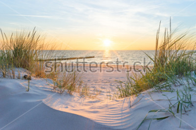 Fototapeta Sunset at the Baltic Sea Beach