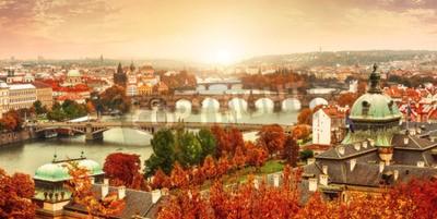 Fototapeta Sunset krajobrazu widok na Most Karola na Wełtawie w Pradze Czechach